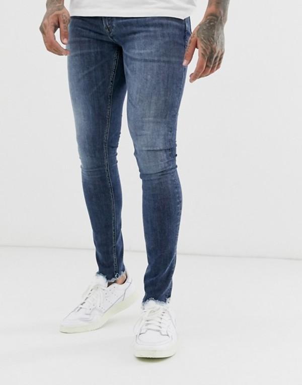 ジャック アンド ジョーンズ メンズ デニムパンツ ボトムス Jack & Jones Intelligence spray on fit raw hem jeans in mid wash Blue denim