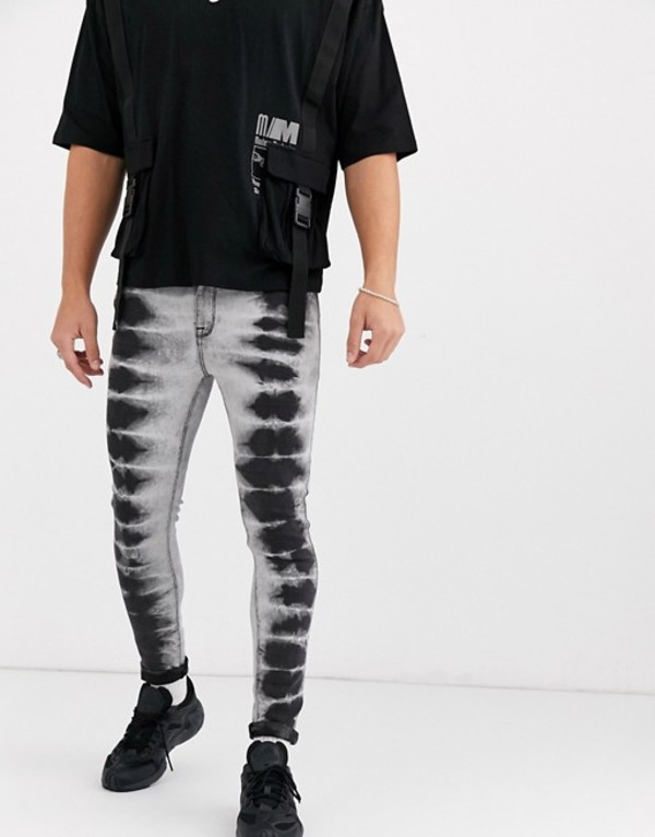 エイソス メンズ デニムパンツ ボトムス ASOS DESIGN spray on jeans in power stretch in black tie dye Black