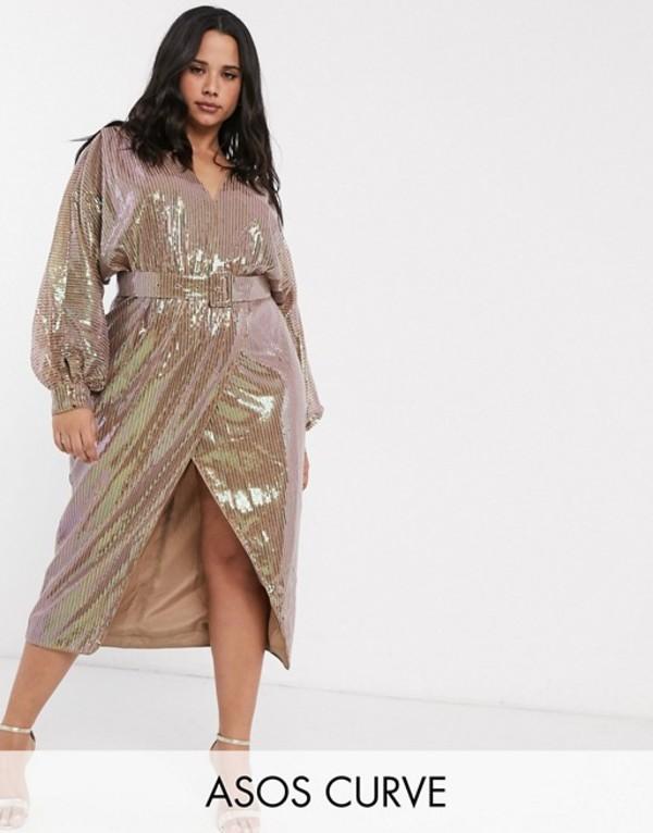 エイソス レディース ワンピース トップス ASOS DESIGN Curve midi dress with blouson sleeve and belt in irridescent sheet sequin Irridecent bronze
