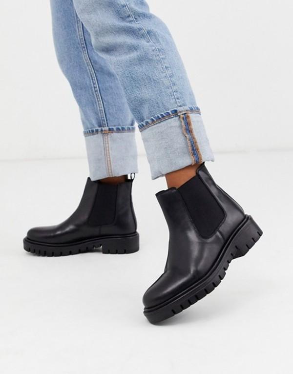 ルールロンドン レディース ブーツ・レインブーツ シューズ Rule London flat chunky chelsea boots in black leather Black leather