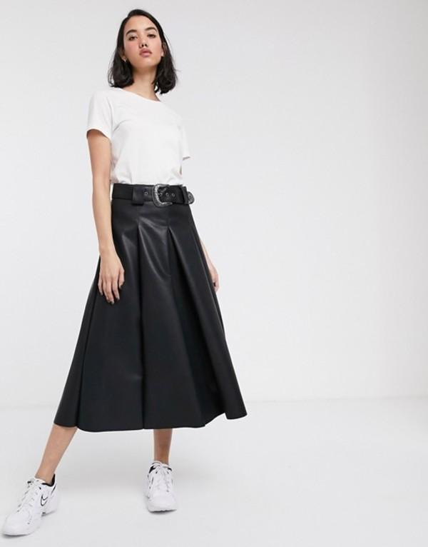 エイソス レディース スカート ボトムス ASOS DESIGN leather look full midi skirt with western belt Black