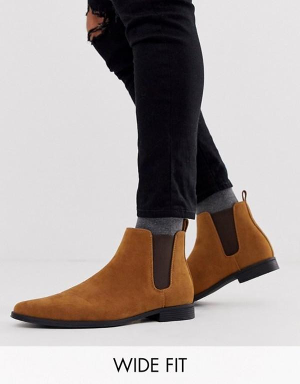 エイソス メンズ ブーツ・レインブーツ シューズ ASOS DESIGN Wide Fit chelsea boots in tan faux suede Tan