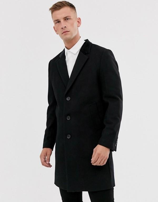 フレンチコネクション メンズ ジャケット・ブルゾン アウター French Connection premium wool rich overcoat with velvet collar BlackBhsdxQotrC