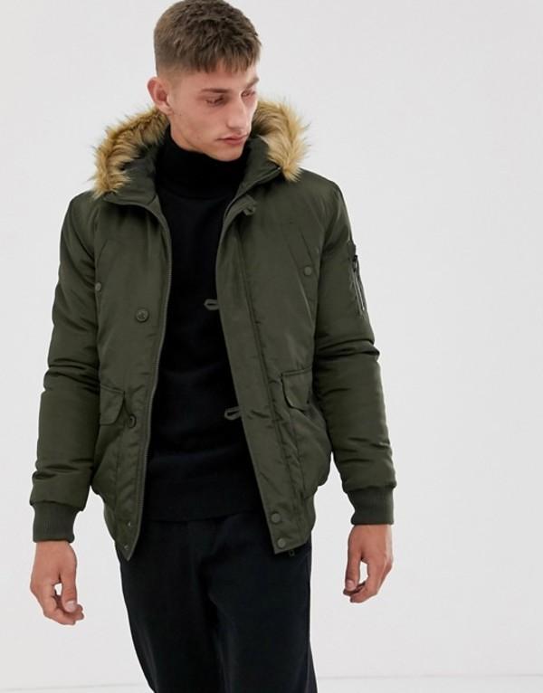 フレンチコネクション メンズ コート アウター French Connection faux fur hood flight jacket Green