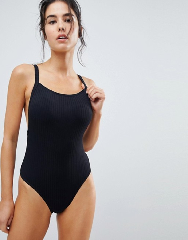 シーフォリー レディース 上下セット 水着 Seafolly Square Neck Ribbed Swimsuit Black