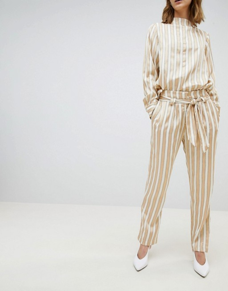 セレクティッド レディース カジュアルパンツ ボトムス Selected Metallic Striped Wide Leg PANTS With Belt Multi