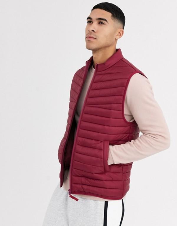 エイソス メンズ タンクトップ トップス ASOS DESIGN puffer vest in red Red