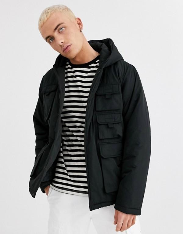 エイソス メンズ ジャケット・ブルゾン アウター ASOS DESIGN hooded utility puffer jacket in black Black
