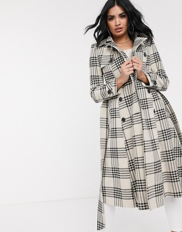 ヘレンベーマン レディース コート アウター Helene Berman double breasted check trench coat Natural/ black check