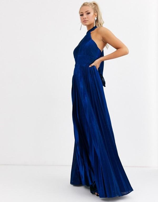 フォーエバーユニーク レディース ワンピース トップス Forever Unique pleated high neck maxi dress in metallic cobalt Blue