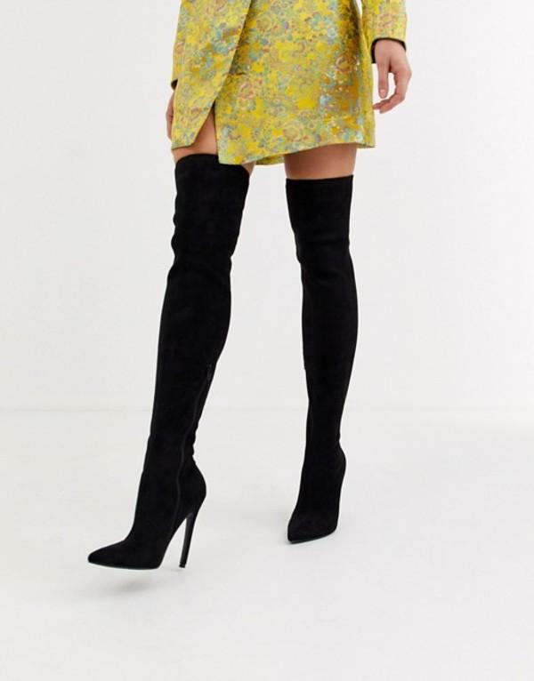 エイソス レディース ブーツ・レインブーツ シューズ ASOS DESIGN Kendra stiletto thigh high boots in black Black