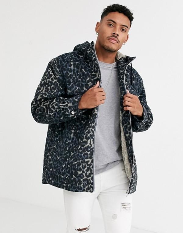 エイソス メンズ ジャケット・ブルゾン アウター ASOS DESIGN wool mix jacket in leopard print with fur lining Blue