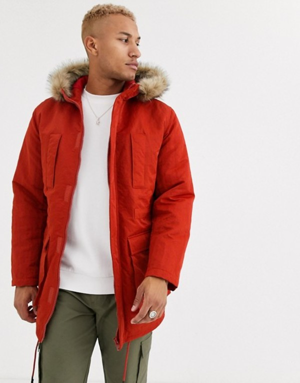 エイソス メンズ コート アウター ASOS DESIGN parka jacket in orange with faux fur lining Orange