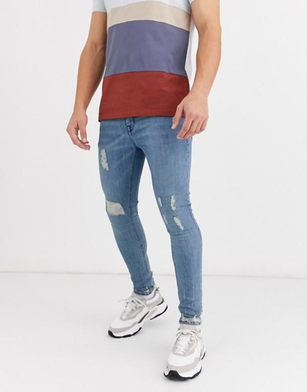 エイソス メンズ デニムパンツ ボトムス ASOS DESIGN spray on jeans in power stretch in vintage light wash with rips Light wash vintage