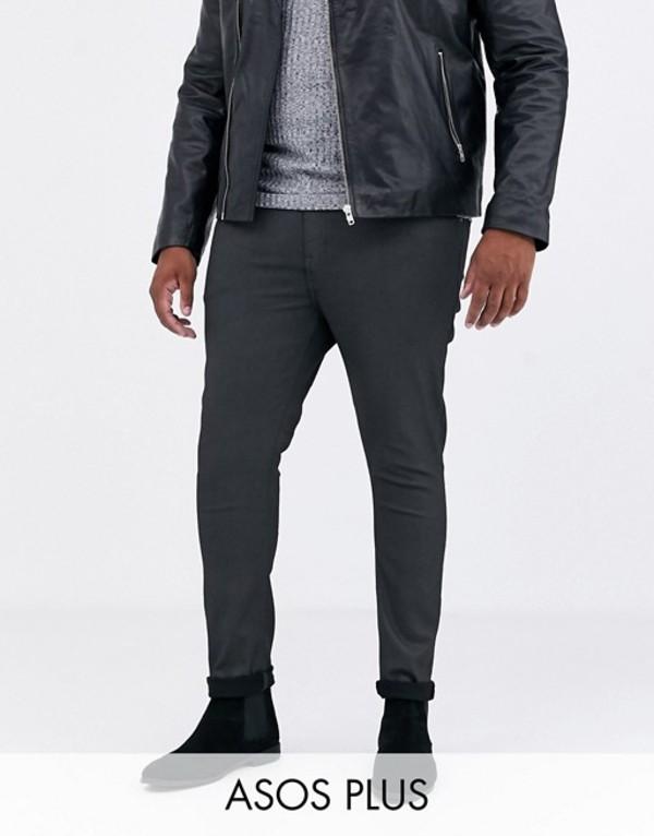 エイソス メンズ デニムパンツ ボトムス ASOS DESIGN Plus super skinny coated smart jeans in military green Green