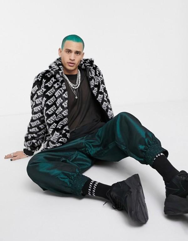 エイソス メンズ ジャケット・ブルゾン アウター ASOS DESIGN faux fur jacket in black with all over print Black