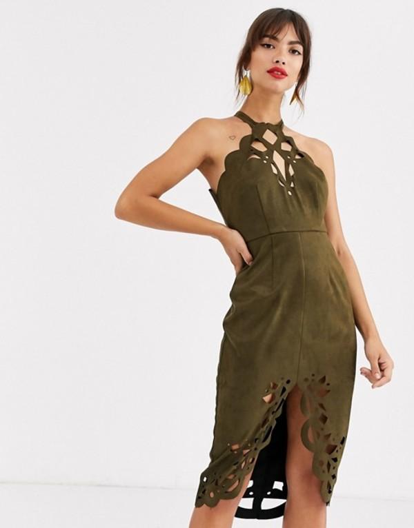 エイソス レディース ワンピース トップス ASOS DESIGN suedette midi dress with cutwork detail Khaki
