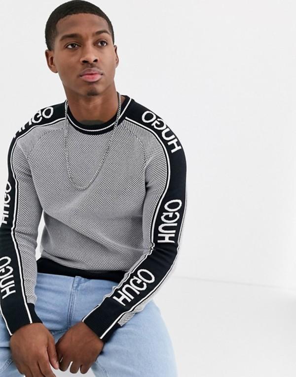 フューゴ メンズ ニット・セーター アウター HUGO Subu logo sweater in black and white White