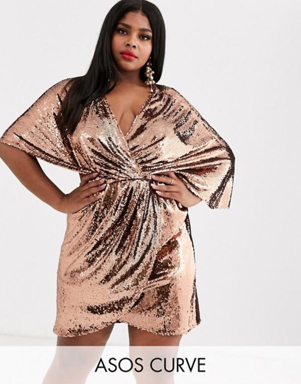 エイソス レディース ワンピース トップス ASOS DESIGN Curve sheet sequin mini dress with asymmetric kimono sleeve Copper