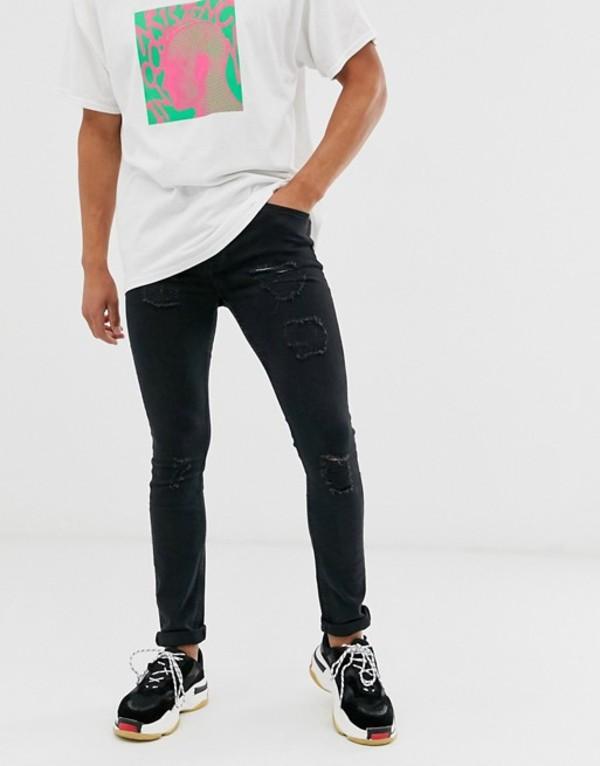 ブーフーマン メンズ デニムパンツ ボトムス boohooMAN skinny jeans with distressing in black Black