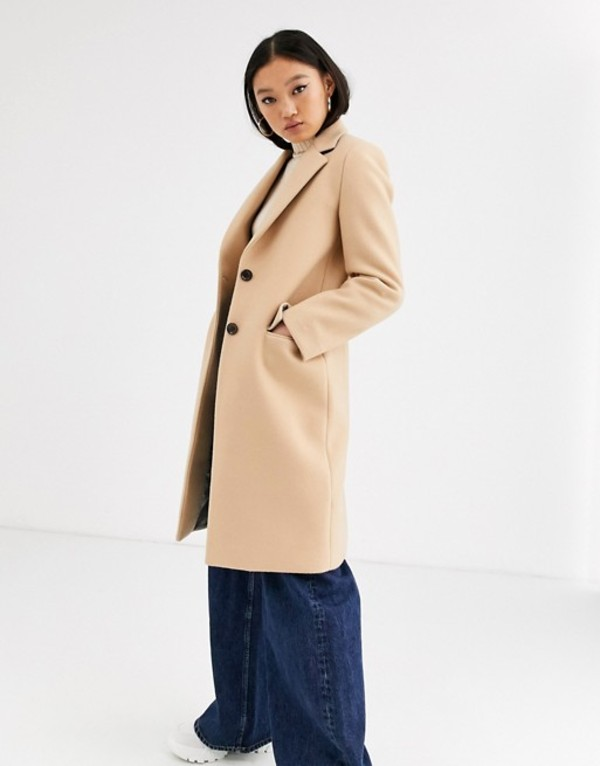ジャンニ フェロー レディース コート アウター Gianni Feraud tailored coat with blue reverse collar Camel