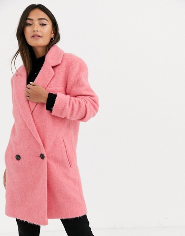 エイソス レディース コート アウター ASOS DESIGN longline brushed oversized coat in pink Pink