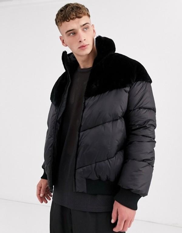 エイソス メンズ ジャケット・ブルゾン アウター ASOS DESIGN puffer jacket with faux fur panel in black Black
