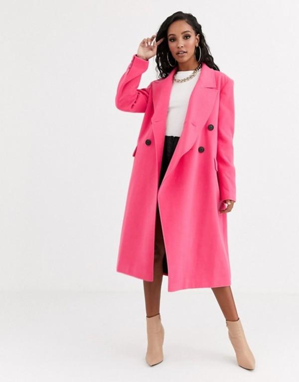 エイソス レディース コート アウター ASOS DESIGN asymmetric front formal coat in pink Pink