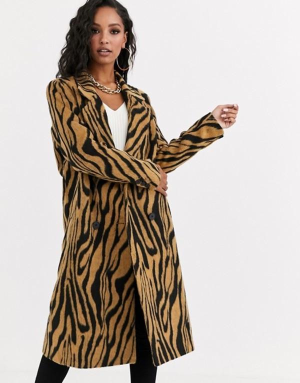 エイソス レディース コート アウター ASOS DESIGN brushed animal double breasted coat Multi