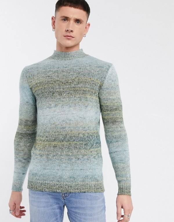 エイソス メンズ ニット・セーター アウター ASOS DESIGN space dye sweater in blue Blue
