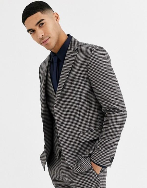ルーディー メンズ ジャケット・ブルゾン アウター Rudie heritage houndstooth check skinny fit suit jacket Brown