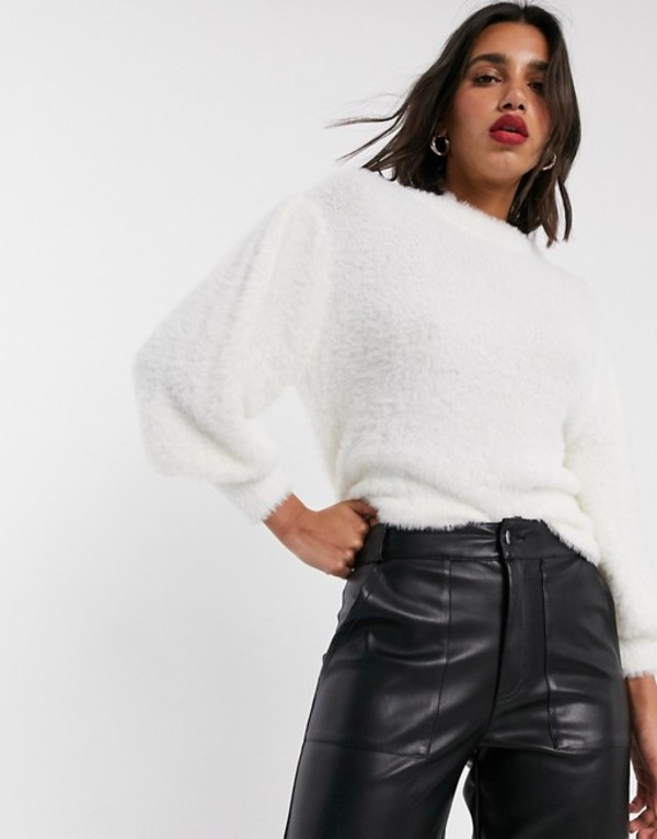 エイソス レディース ニット・セーター アウター ASOS DESIGN eyelash sweater with volume sleeve Off white
