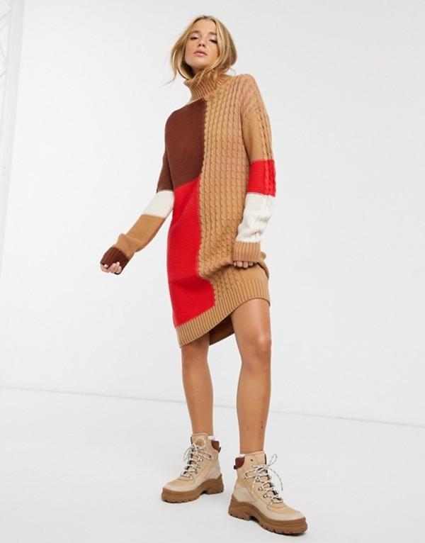ブレーブソウル レディース ワンピース トップス Brave Soul Matata sweater dress in patchwork cable Brown/black/white