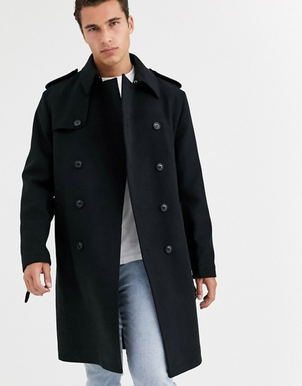 エイソス メンズ コート アウター ASOS DESIGN double breasted trench coat in black Black