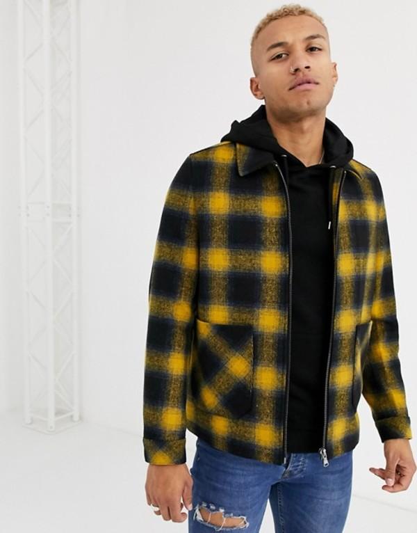 エイソス メンズ ジャケット・ブルゾン アウター ASOS DESIGN wool mix zip through jacket in yellow and blue check Yellow