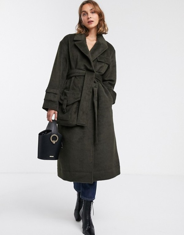 エイソス レディース コート アウター ASOS DESIGN brushed utility coat in khaki Khaki