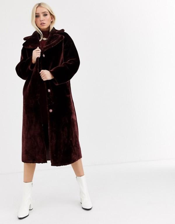 エイソス レディース コート アウター ASOS DESIGN plush faux fur maxi coat in burgundy Burgundy