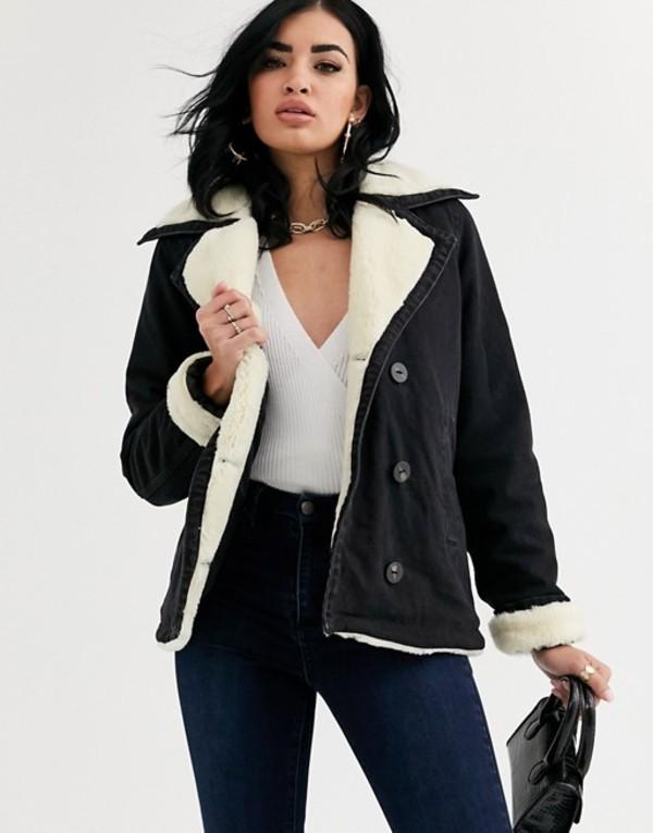 エイソス レディース ジャケット・ブルゾン アウター ASOS DESIGN denim aviator jacket with contrast fleece collar Washed black