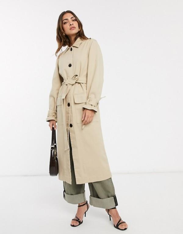 エイソス レディース コート アウター ASOS DESIGN denim trench coat with tie cuff detail Cream