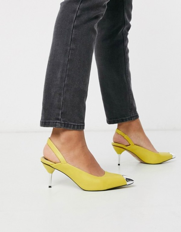 エイソス レディース ヒール シューズ ASOS DESIGN Sascha slingback kitten heels in lime green Lime