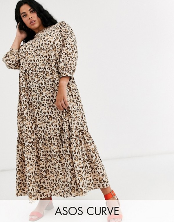 エイソス レディース ワンピース トップス ASOS DESIGN Curve tiered maxi dress in leopard print Leopard print