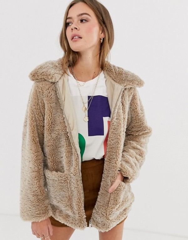 ニュールック レディース コート アウター New Look borg coat in camel Camel