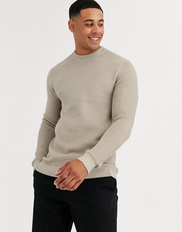 リバーアイランド メンズ ニット・セーター アウター River Island sweater in stone Stone