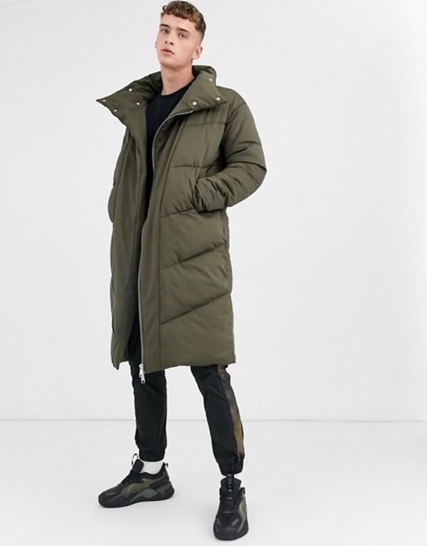 エイソス メンズ コート アウター ASOS DESIGN puffer coat in longline with funnel neck in khaki Khaki