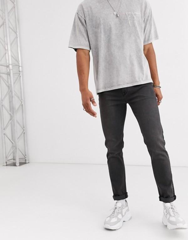 ハートアンドダガー メンズ デニムパンツ ボトムス Heart & Dagger skinny jeans in washed black Black