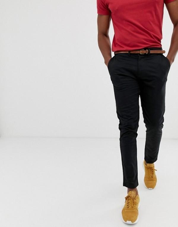 プルアンドベアー メンズ カジュアルパンツ ボトムス Pull&Bear skinny chino with belt in black Tan