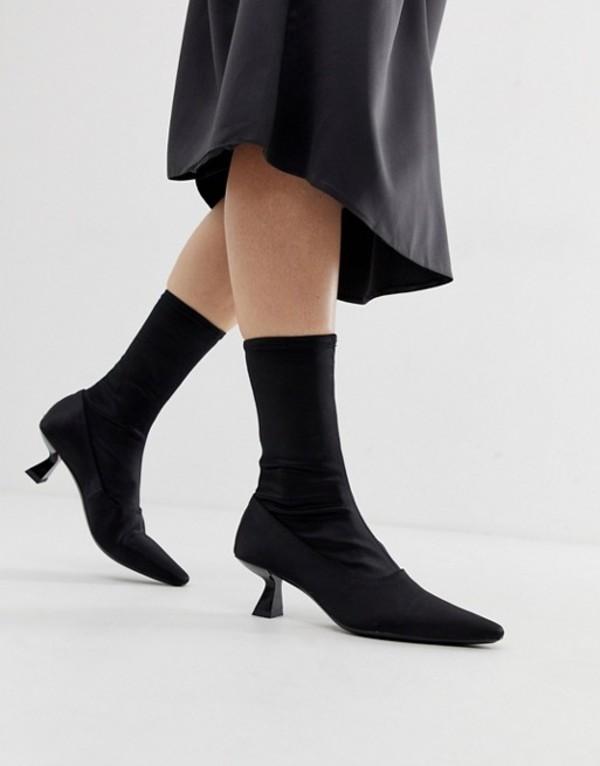 バガボンド レディース ブーツ・レインブーツ シューズ Vagabond Lissie pointed heeled ankle boot in stretch fabric Black