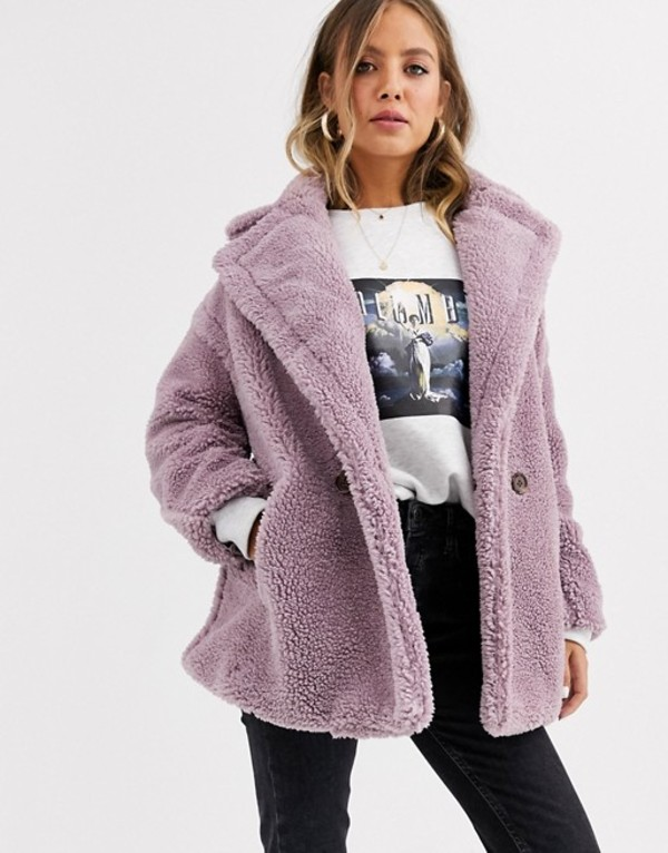キューイーディーロンドン レディース コート アウター QED London double breasted teddy coat Lilac