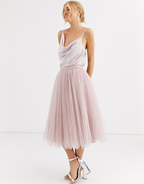 リトルミストレス レディース スカート ボトムス Little Mistress tulle midi prom skirt in mink Mink