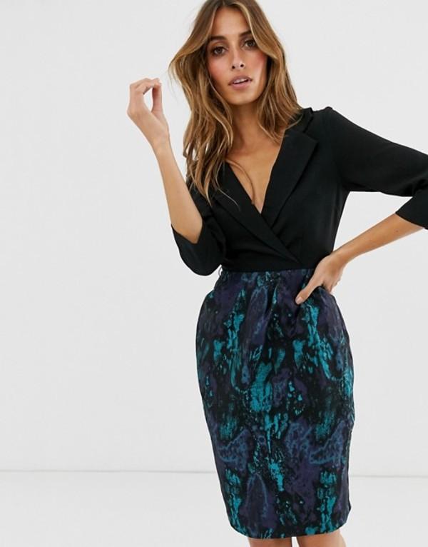 ペーパードールズ レディース ワンピース トップス Paper Dolls tuxedo pencil dress with jacquard skirt Black / jaquard